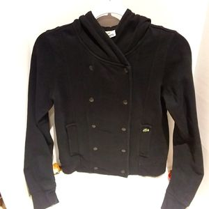 Lacoste fleece double-breasted hooded jacket